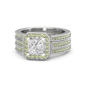 Princess White Sapphire Sterling Silver Ring with Peridot