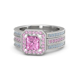 Princess Pink Sapphire Sterling Silver Ring with Pink Tourmaline & Blue Topaz
