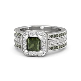 Princess Green Tourmaline Sterling Silver Ring with White Sapphire and Green Tourmaline