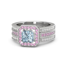 Princess Aquamarine Sterling Silver Ring with Pink Tourmaline and White Sapphire