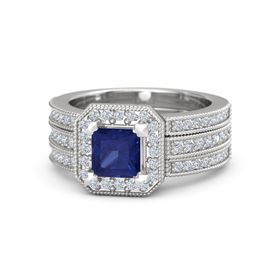 Princess Sapphire Sterling Silver Ring with Diamond