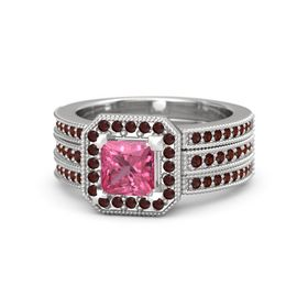 Princess Pink Tourmaline Sterling Silver Ring with Red Garnet