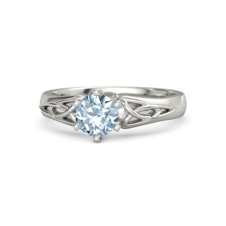 Round Aquamarine 14K White Gold Ring | Fiona Ring | Gemvara