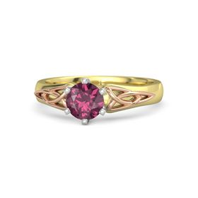 Round Rhodolite Garnet 14K Yellow Gold Ring