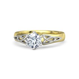 Round Diamond 14K Yellow Gold Ring