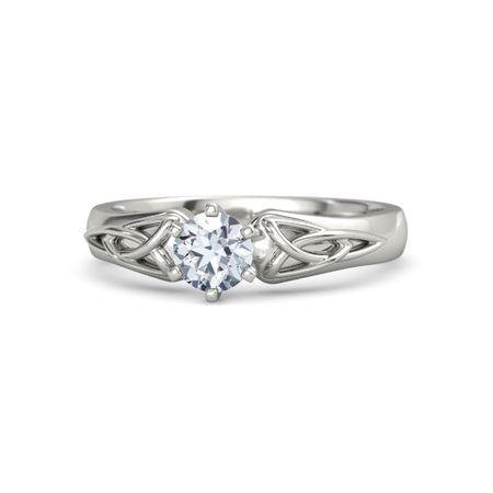 Round Moissanite 14K White Gold Ring | Fiona Ring | Gemvara