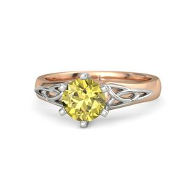 Round Yellow Sapphire 14K Rose Gold Ring