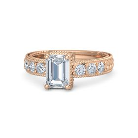 Emerald Diamond 14K Rose Gold Ring with Diamond