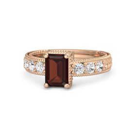 Emerald-Cut Red Garnet 14K Rose Gold Ring with White Sapphire