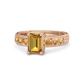 Emerald Citrine 14K Rose Gold Ring with Citrine