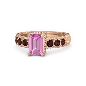 Emerald Pink Sapphire 14K Rose Gold Ring with Red Garnet