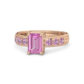 Emerald Pink Sapphire 14K Rose Gold Ring with Pink Tourmaline