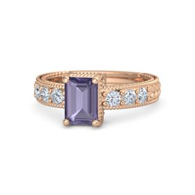 Emerald-Cut Iolite 14K Rose Gold Ring with Diamond