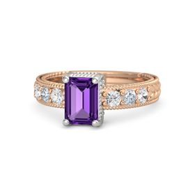 Emerald Amethyst 14K Rose Gold Ring with White Sapphire and Diamond