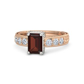 Emerald-Cut Red Garnet 14K Rose Gold Ring with Diamond