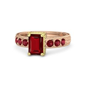 Emerald Ruby 14K Rose Gold Ring with Ruby