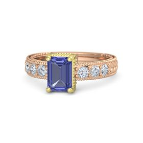 Emerald Tanzanite 14K Rose Gold Ring with Diamond