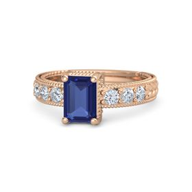 Emerald-Cut Sapphire 14K Rose Gold Ring with Diamond