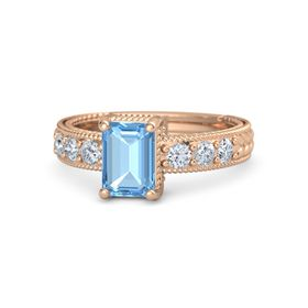 Emerald Blue Topaz 14K Rose Gold Ring with Diamond