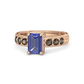 Emerald-Cut Tanzanite 14K Rose Gold Ring with Smoky Quartz