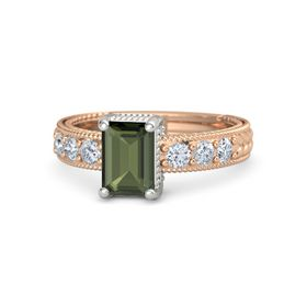 Emerald Green Tourmaline 14K Rose Gold Ring with Diamond