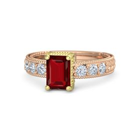Emerald Ruby 14K Rose Gold Ring with Diamond