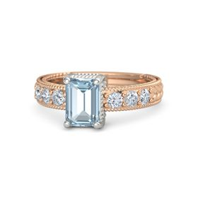 Emerald Aquamarine 14K Rose Gold Ring with Diamond