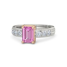 Emerald-Cut Pink Sapphire 14K White Gold Ring with Diamond