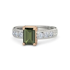 Emerald Green Tourmaline 14K White Gold Ring with Diamond