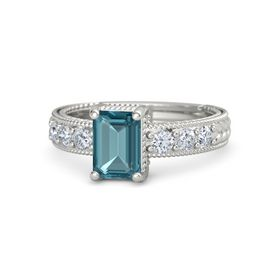 Emerald-Cut London Blue Topaz 14K White Gold Ring with Diamond