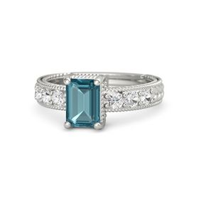 Emerald-Cut London Blue Topaz 14K White Gold Ring with White Sapphire