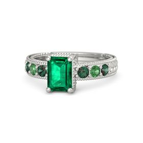 Emerald-Cut Emerald 14K White Gold Ring with Alexandrite & Emerald