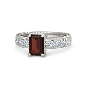 Emerald-Cut Red Garnet 14K White Gold Ring with Diamond