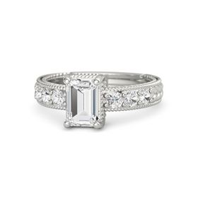 Emerald-Cut White Sapphire 14K White Gold Ring with White Sapphire