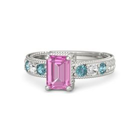 Emerald-Cut Pink Sapphire 14K White Gold Ring with London Blue Topaz & White Sapphire