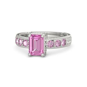 Emerald-Cut Pink Sapphire 14K White Gold Ring with Pink Sapphire