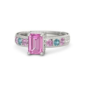 Emerald Pink Sapphire 14K White Gold Ring with Pink Tourmaline and London Blue Topaz