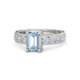 Emerald-Cut Aquamarine 14K White Gold Ring with Diamond