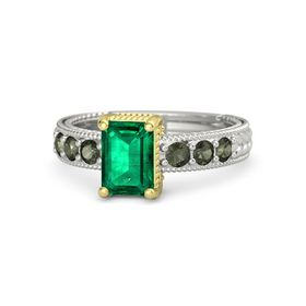 Emerald Emerald 14K White Gold Ring with Green Tourmaline