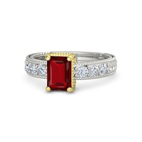 Emerald Ruby 14K White Gold Ring with Diamond