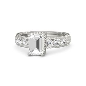Emerald-Cut Rock Crystal 14K White Gold Ring with White Sapphire