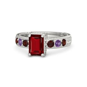 Emerald Ruby 14K White Gold Ring with Red Garnet and Amethyst