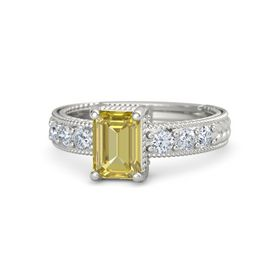 Emerald Yellow Sapphire 14K White Gold Ring with Diamond