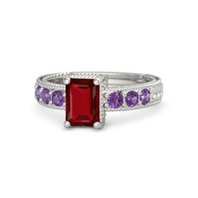 Emerald-Cut Ruby 14K White Gold Ring with Amethyst