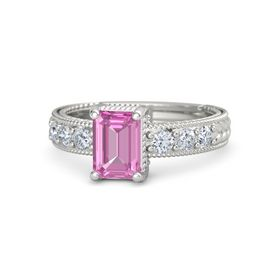 Emerald Pink Sapphire 14K White Gold Ring with Diamond