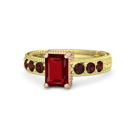Emerald Ruby 14K Yellow Gold Ring with Red Garnet