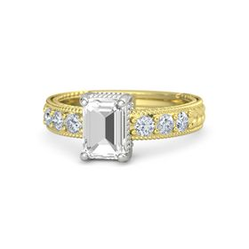 Emerald-Cut Rock Crystal 14K Yellow Gold Ring with Diamond
