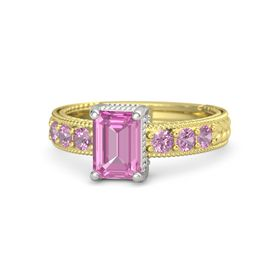 Emerald-Cut Pink Sapphire 14K Yellow Gold Ring with Pink Tourmaline