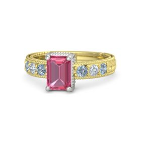 Emerald Pink Tourmaline 14K Yellow Gold Ring with Blue Topaz and Diamond