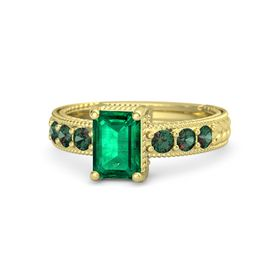 Emerald-Cut Emerald 14K Yellow Gold Ring with Alexandrite